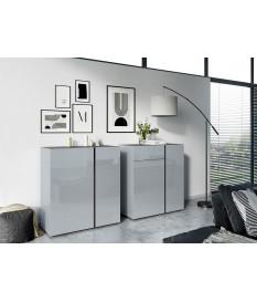 Commode de rangement gris graphite et verre gris