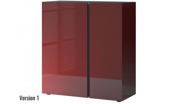 Commode décor graphite et verre rouge rubis