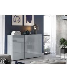 Buffet de séjour design gris graphite et verre gris