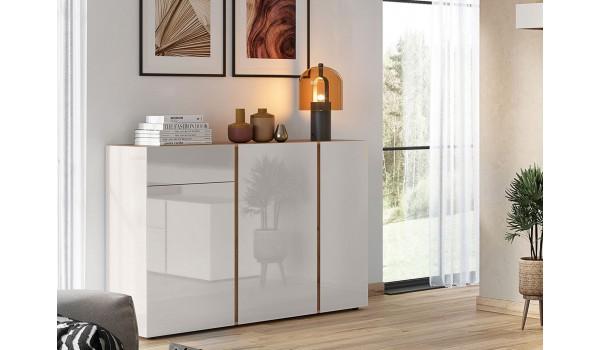 Buffet de séjour design chêne et verre blanc cachemire