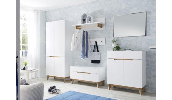 Meuble d'entrée et vestiaire blanc et chêne