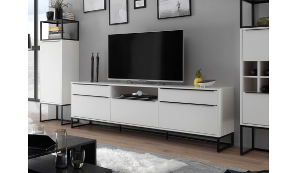 Meuble TV design blanc laqué mat 215 cm