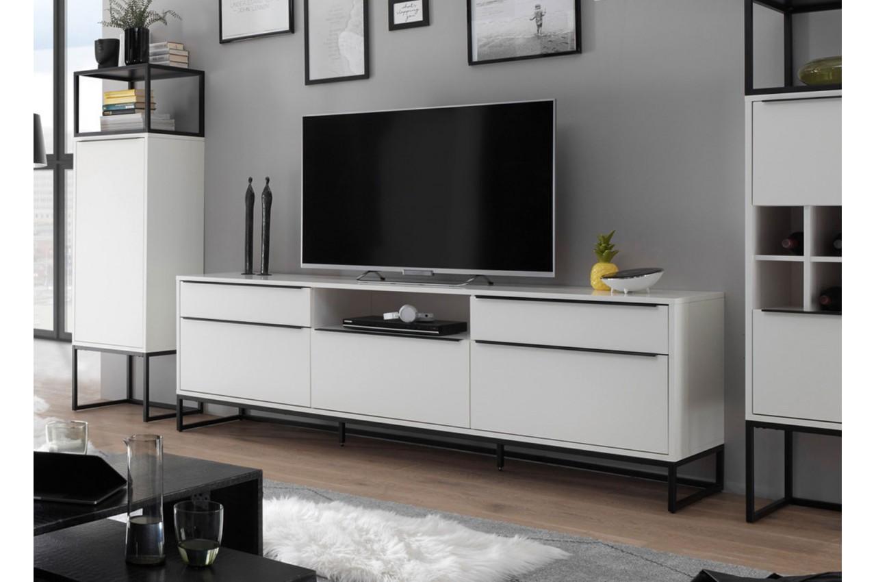 Meuble Tv Design Blanc Laque Mat 215 Cm Pour Salon