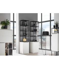 Meuble étagère blanc laqué / Métal & verre