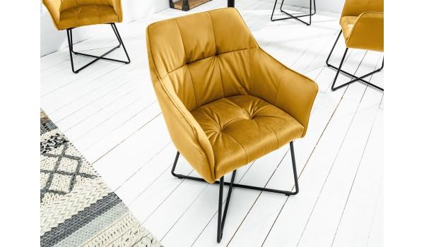 Chaise velours molletonnée design jaune-or