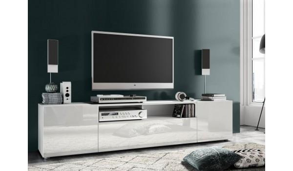 Meuble TV blanc bas ou mural pas cher