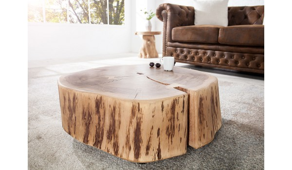 Table de nuit, table d'appoint, table basse / Bois massif Acacia