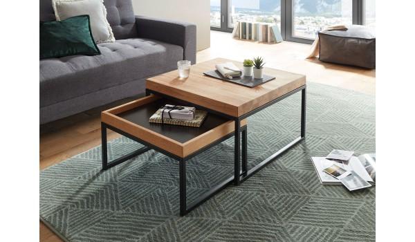 Table basse carrée encastrable bois et métal