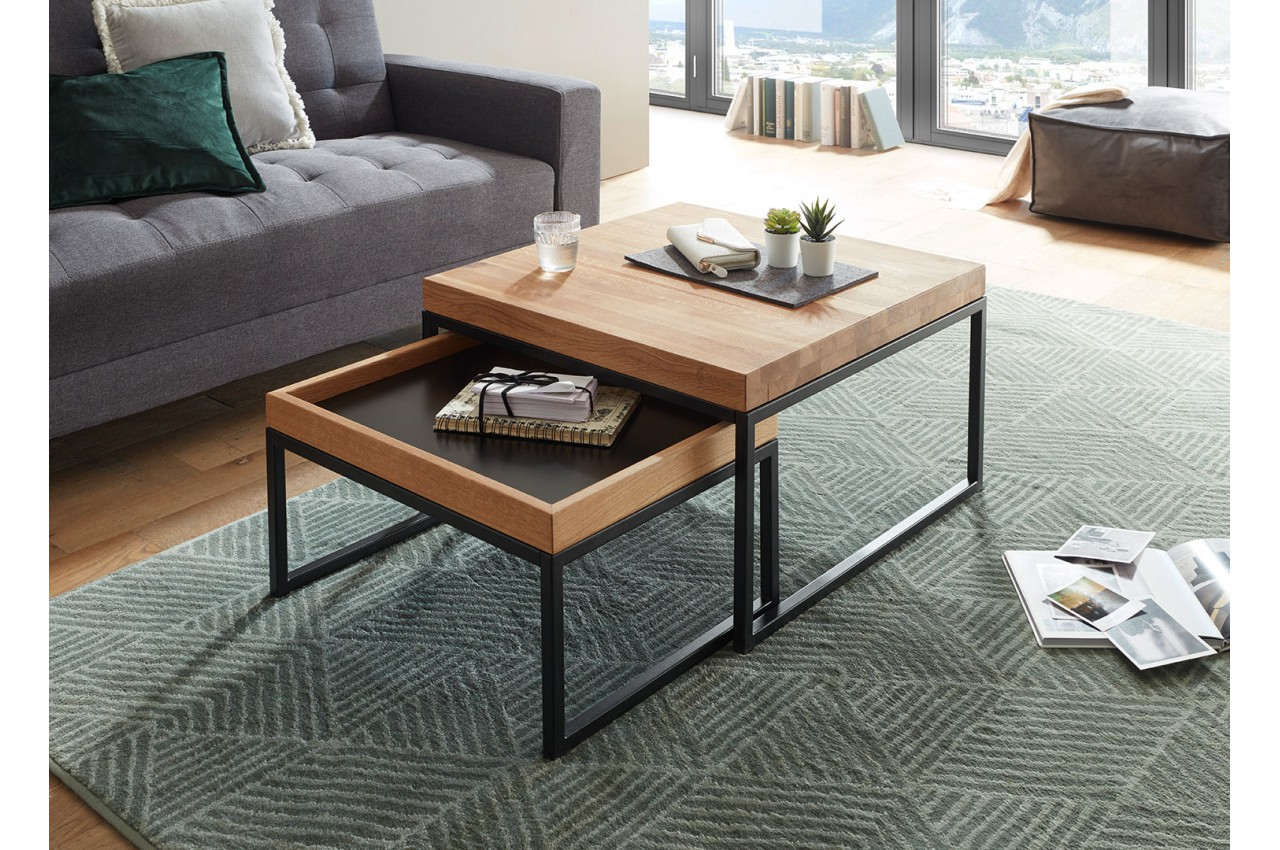 Table basse carrée encastrable bois et métal pour salon