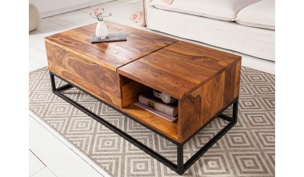 Table basse plateau relevable bois et métal