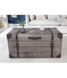Table basse coffre bois grisé