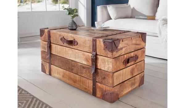 Table basse coffre bois naturel clair