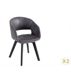 Chaise rétro vintage simili cuir gris