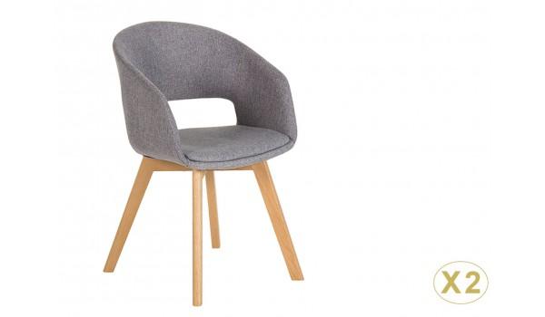 Chaise rétro vintage tissu gris clair