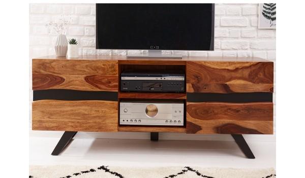 Meuble tv bois massif et métal, 2 portes, 2 niches