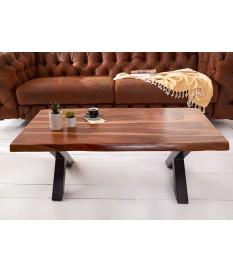 Table basse design bois massif et métal