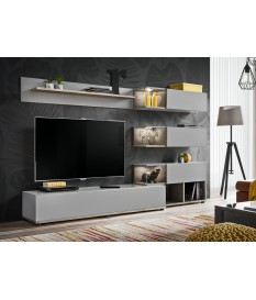 Meuble TV design mural gris clair et bois 240cm