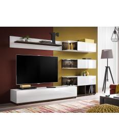 Meuble TV design mural blanc laqué et noyer foncé 240cm