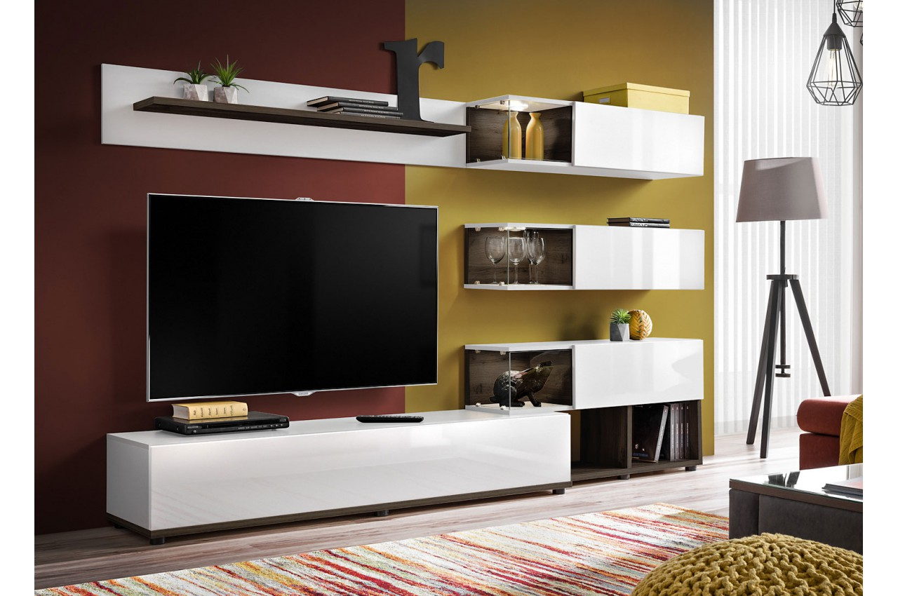 Meuble Tv Design Mural Blanc Laque Et Noyer Fonce 240cm Pour Salon