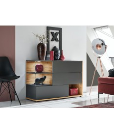 Buffet design gris anthracite et bois 120 cm