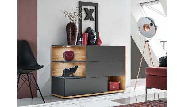 Buffet design gris anthracite et bois 120 cm