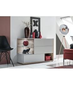 Buffet design gris clair et bois 120 cm