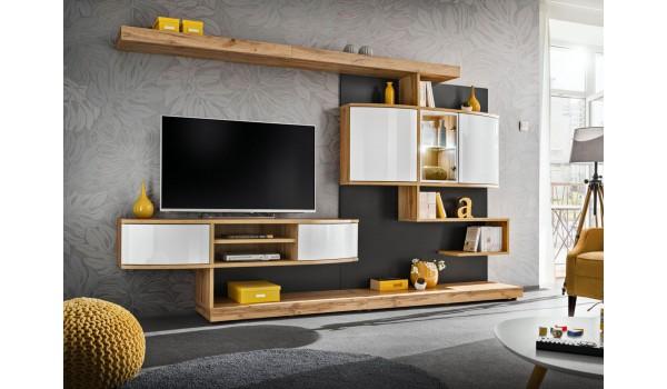 Meuble TV design mural bois et blanc laqué 300 cm
