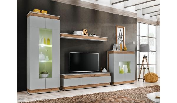 Meuble TV design à Led gris perle et bois