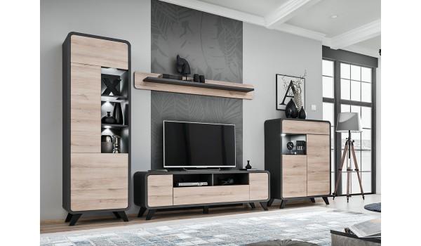 Ensemble TV design style scandinave avec éclairage