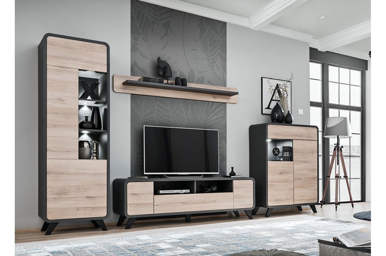 Ensemble Tv Design Style Scandinave Avec Eclairage Pour Salon