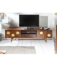 Meuble TV en bois d'acacia brun et déco doré