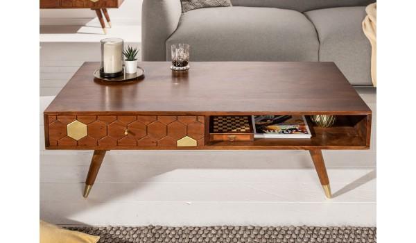 Table basse en bois d'acacia brun et déco doré