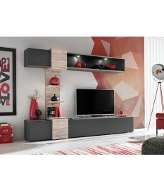 Meuble TV design mural gris et bois avec éclairage Led