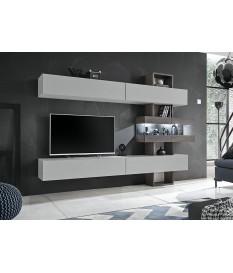 Meuble TV mural design gris clair et bois avec éclairage Led