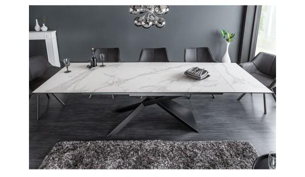 Table design en céramique effet marbre blanc