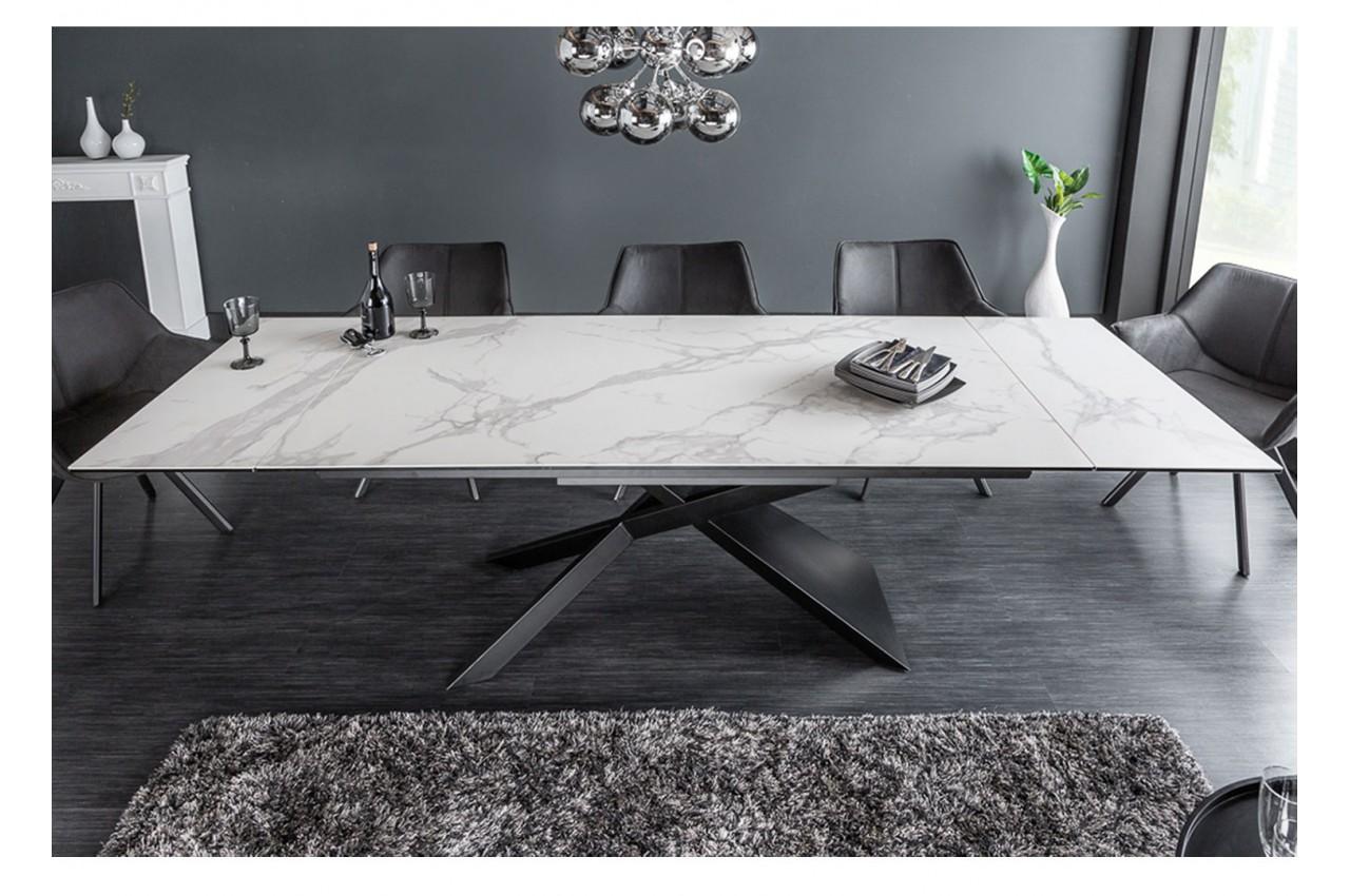 Table design en céramique effet marbre blanc pour salle à