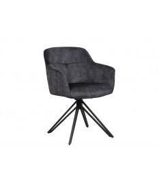 Chaise pivotante matelassée grise avec accoudoir