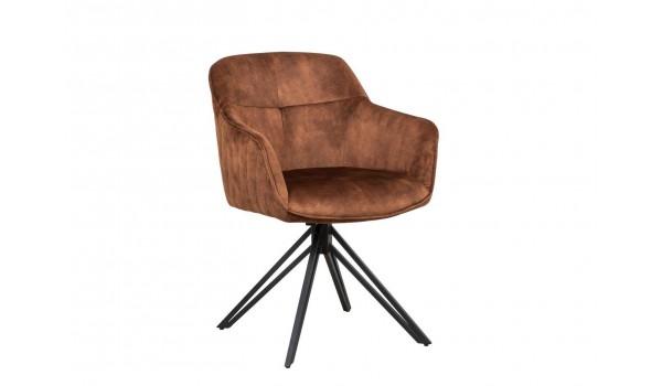 Chaise pivotante matelassée marron avec accoudoir