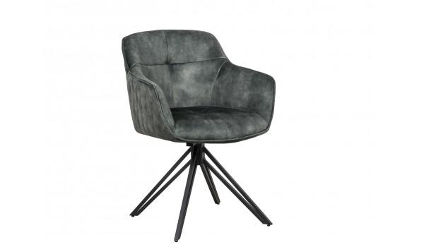 Chaise pivotante matelassée vert foncé avec accoudoir