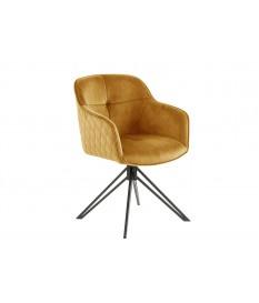 Chaise pivotante matelassée jaune-or avec accoudoir