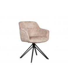 Chaise pivotante matelassée grège avec accoudoir