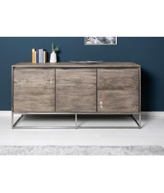 Buffet design en bois d'acacia grisé - 3 portes