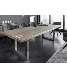 Table de salle à manger bois massif - Acier brossé
