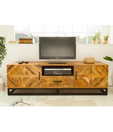 Meuble TV en bois massif et fer forgé / 160 cm