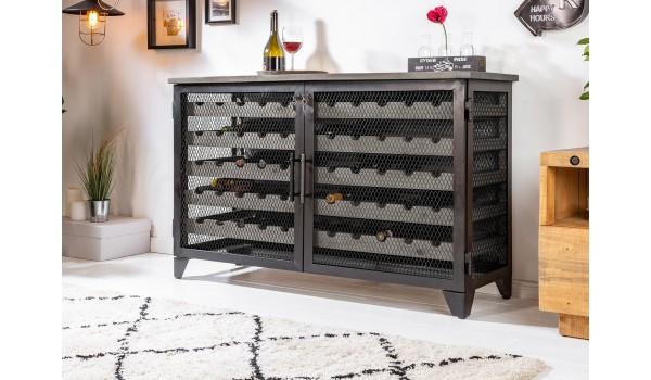 Cave à vin industrielle 55 bouteilles pin grisé et métal noir