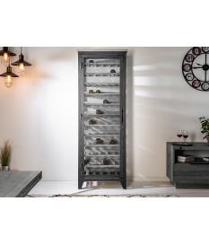 Armoire à vin 72 bouteilles / Pin grisé et métal noir