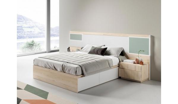 Lit avec rangement 160x200 cm avec chevets & tête de lit à Led