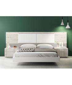 Lit adule 160x200 avec chevets & tête de lit à Led