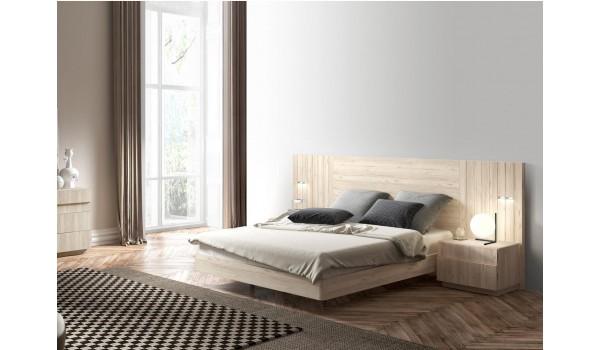 Lit 2 places 160x200 cm avec chevets & tête de lit à Led