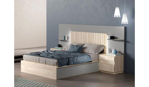 Lit avec rangement 160x200 / Chevets et tête de lit à Led